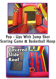 5-in-1 All-Star Arena (Jump, 2 Basketball Hoops, Pop Ups, Climb, 14 Ft. Slide)