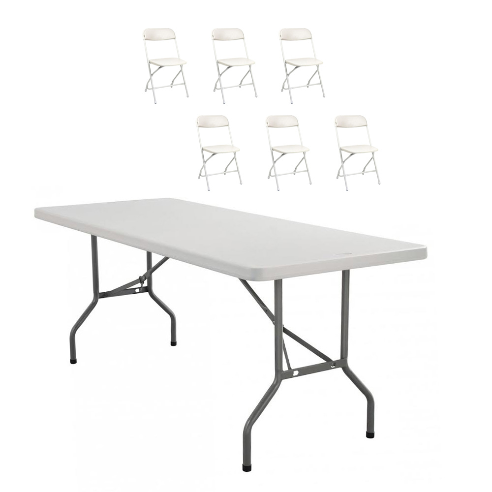 6 Ft. Rectangular Table and 6 Chairs