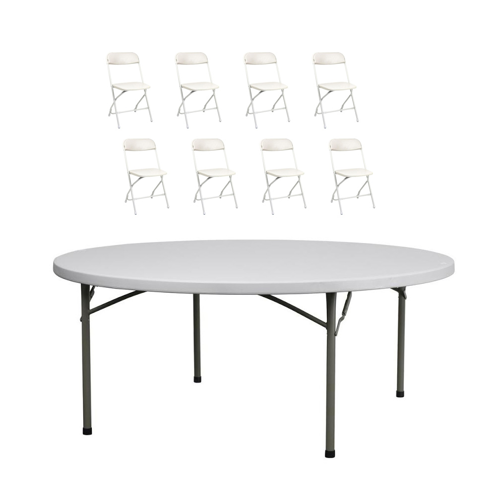 5 Ft. Round Table and 8 Chairs